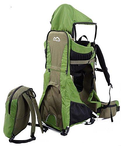 MONTIS Ranger PRO Kinder- Baby- u. Rückentrage, geeignet für Kinder (Babys & Kleinkinder mit stabilem Sitz), Babytrage mit Tragesitz, Sonnen- und Regenschutz, Kraxen-Rucksack-System Wandern, GRÜN - 5