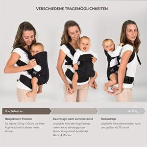 Fillikid - Ergonomische Babytrage / Kindertrage 4in1 - Bauchtrage, Rückentrage, variable Blickrichtung / mitwachsend